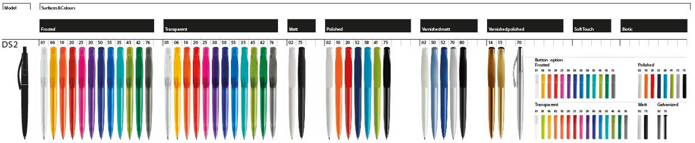 bedrukte prodir DS2 balpen kleurenoverzicht, ontwerp samen met BINQ Promotions uw Prodir DS2 pennen