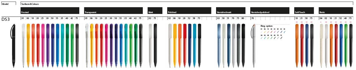 Prodir DS3 balpennen bedrukken kleuren overzicht, bedrukte DS3 pennen mix en match de kleuren. Uitvoeringen Polished, mat, transparant, slver, glossy varnish en frosted. De Prodir DS3 TFA, TDD, FPP, PPP, TPP, TMM, TOO, TTT, TFF, TEE, TAA, TPC, TMS, TFS, TTC, TVV, TVS zijn allen mogelijk te bestellen ontworpen met uw logo.