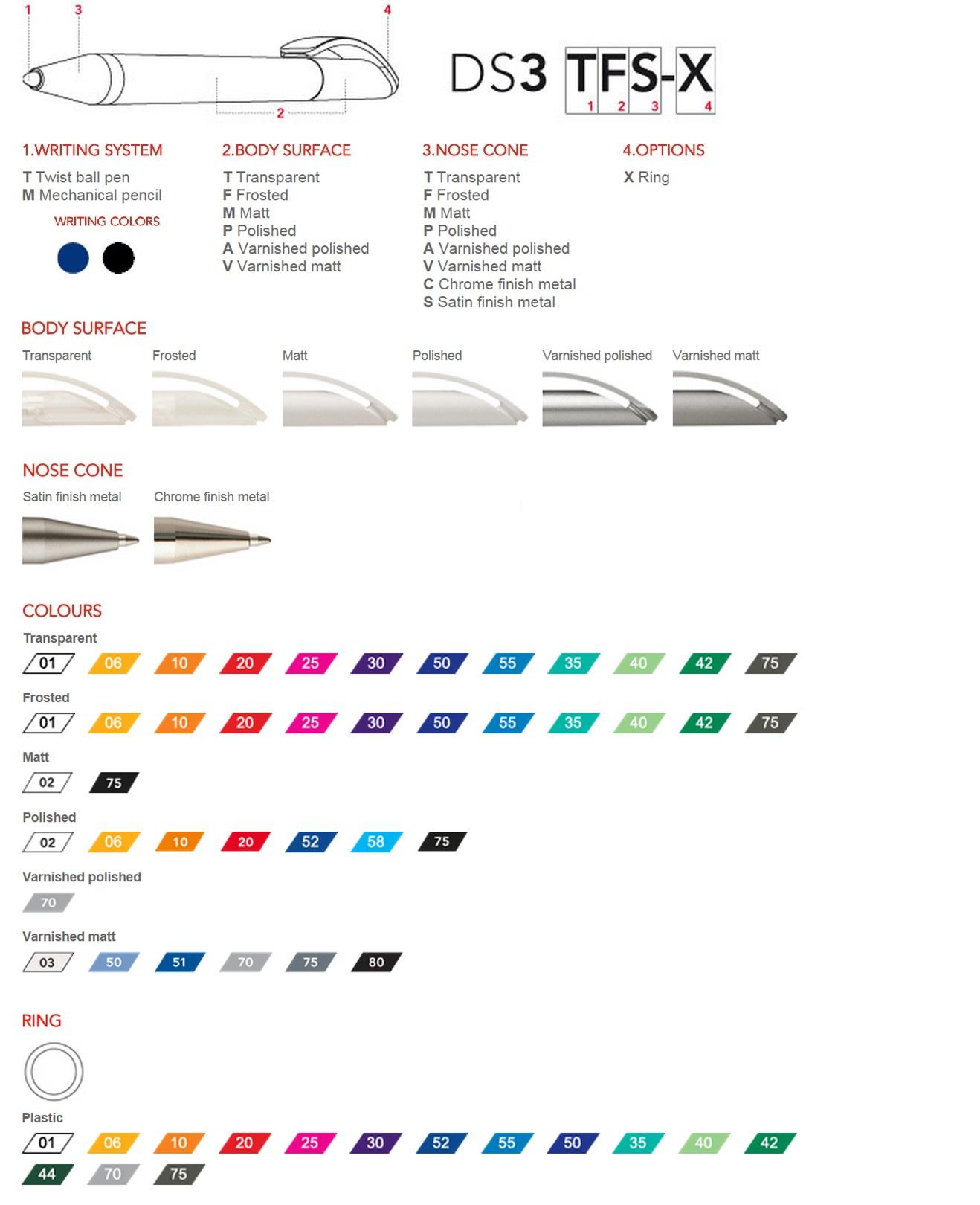 Prodir DS3 pennen personaliseren, overzicht van de personalisatie mogelijkheden om uw Prodir DS3 balpen te personaliseren.