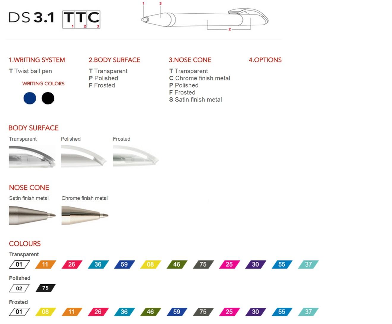 Prodir DS3.1 pennen personalisren, een overzicht van de personalisatie mogelijkheden voor de Prodir DS3.1 balpennen.