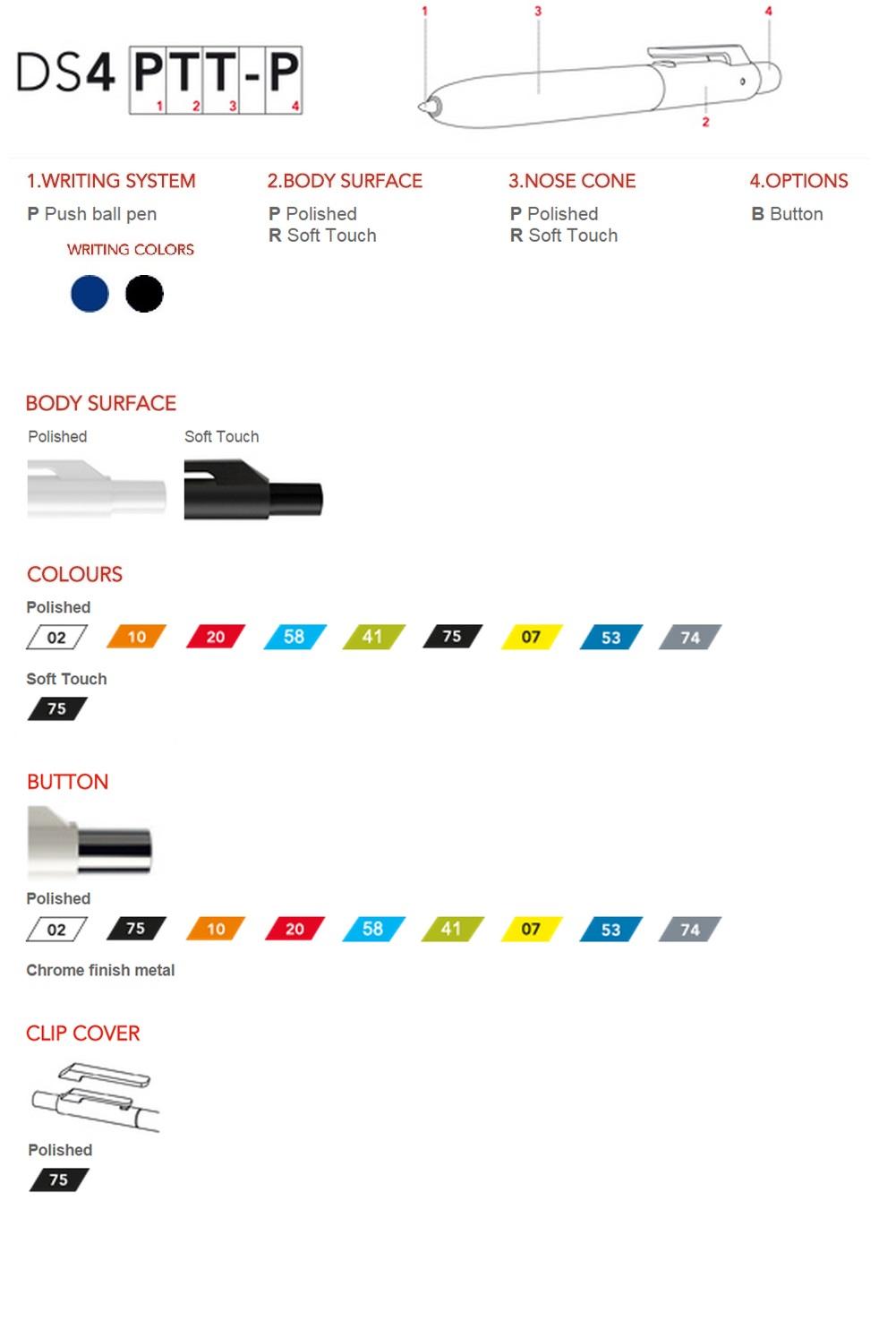 Prodir DS4 pennen personaliseren, overzicht van de personalisatie mogelijkheden. Goedkoop gepersonaliseerde Prodir DS4 pennen bestellen doe je bij BINQ Promotions!