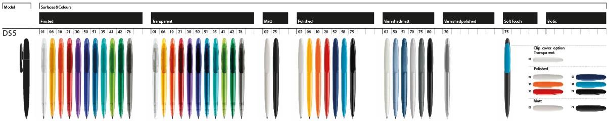 Prodir DS5 balpennen, kleurenoverzicht van de DS5 pennen van het merk Prodir. Bestel uw Prodir DS5 pennen bij BINQ Promotions, snel goedkoop gratis ontwerp sample en verzending.