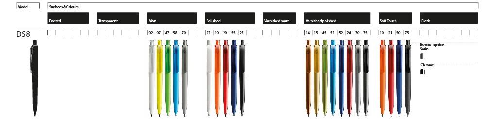 Prodir DS8 balpennen kleurenoverzicht, laat uw Prodir DS8 pennen personaliseren in uw huisstijl door BINQ Promotions, snel goedkoop gratis ontwerp sample en bezorging.