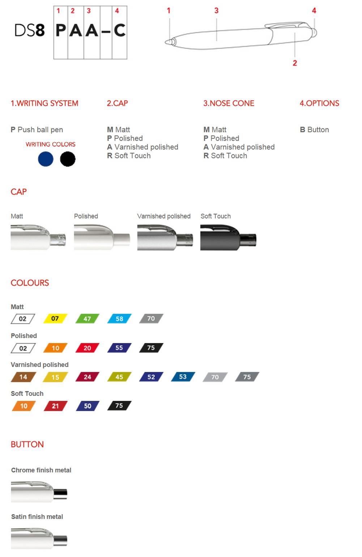 Prodir DS8 pennen personaliseren, overzicht personalisatie mogelijkheden. Gepersonaliseerde Prodir DS8 balpen bestellen doet u goedkoop bij BINQ Promotions