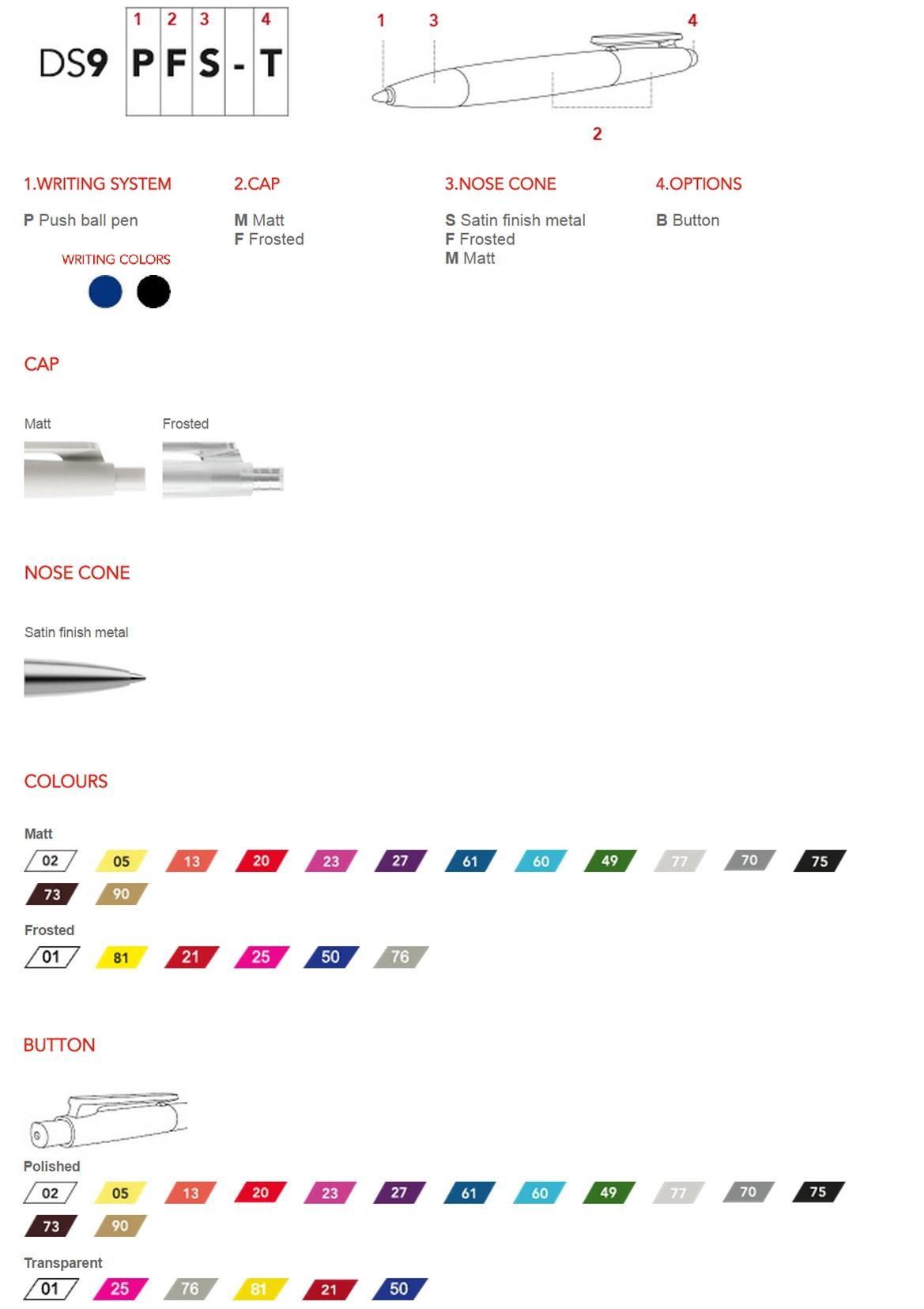 Prodir DS9 pennen personaliseren. Het overzicht met personalisatie mogelijkheden geeft een goed beeld om uw gepersonaliseerde Prodir DS9 balpen samen te stellen. Laat uw DS9 pen ontwerpen door BINQ Promotions! Snel goedkoop en gratis sample en bezorging