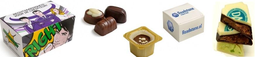 Bonbons en pralines bedrukken. Goedkoop bedrukte bonbons met logo of pralines bedrukken