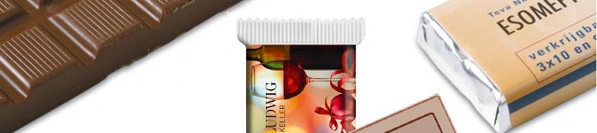 chocoladerepen bedrukken, bedrukte chocoladerepen met logo. Snel goedkoop en opdruk vanaf een kleine oplage.